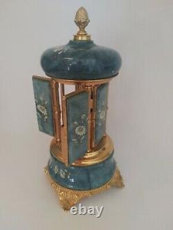 Vintage Reuge Alabaster Musical Cigarette Holder Music Box Carousel Blue/flowers