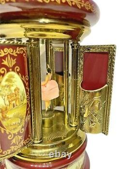 Vintage Reuge Burgundy Music Box with Dancing Girl Cigar Lipstick Jewelry Holder