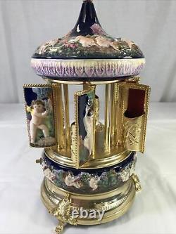 Vintage Reuge Capodimonte Cherubs Music Box Lipstick Doctor Zhivago Edelweiss