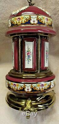 Vintage Reuge Carousel Italian lipstick Holder Works Blue Danube/Vienna Woods