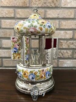 Vintage Reuge Carousel Music Box Cigar Cigarette Lipstick Holder Cabbage Rose