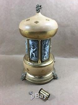 Vintage Reuge Carousel Music Box Cigar Cigarette Lipstick Jewelry Holder Swiss