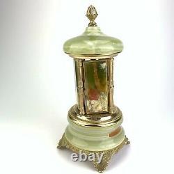 Vintage Reuge Carousel Music Box Cigar Lipstick Holder Green Onyx MOD. BEV
