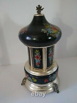 Vintage Reuge Carousel Music Box Cigar Lipstick Jewelry Holder, Black with Flowers