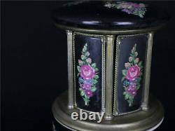 Vintage Reuge Carousel Music Box Cigarette Case Lipstick Holder Black Love Story