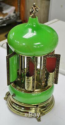 Vintage Reuge Carousel Music Box Cigarette Holder Plays Lara's Theme GREEN