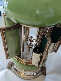Vintage Reuge Carousel Music Box, Cigarette/Lipstick Holder, Green Marble