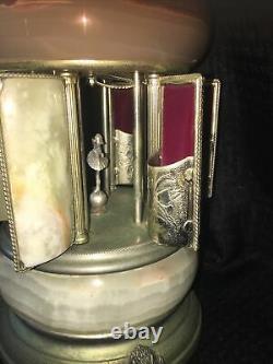 Vintage Reuge Carousel Music Box Cigarette Lipstick Holder Onyx Ballerina Italy