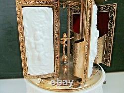 Vintage Reuge Carousel Porcelain Music Box Lipstick Holder Cherubs / Devil Faces
