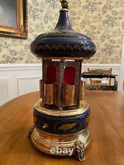 Vintage Reuge Cobalt Blue Bird Carousel Cigarette/Lipstick Music Box-Blue Danube