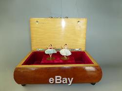 Vintage Reuge Dancing Ballerina Music Box Automaton Jewelry Case Double Dancers