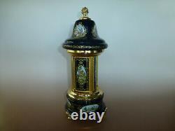 Vintage Reuge Dancing Ballerina Music Box Carousel Holder Gold Leaf Metal Case