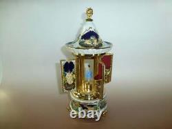 Vintage Reuge Dancing Ballerina Music Box Carousel Holder Gold Leaf & Porcelain