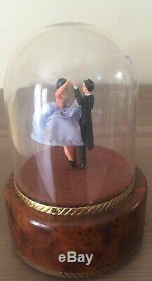 Vintage Reuge Dancing Couple Ballerina Music Box Blue Dress Automaton