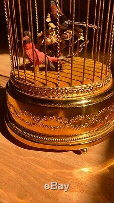 Vintage Reuge Double Singing Bird Cage Automaton Music Box Spieluhr WATCH VIDEO