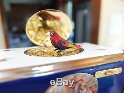 Vintage Reuge Enamel Singing Bird Box Bird Automaton Music Box (watch The Video)