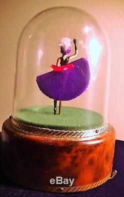 Vintage Reuge French Dancing Can Can Dancer Ballerina Music Box Automaton