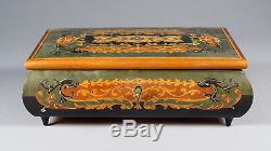 Vintage Reuge Italian Music Box Floral Dance Burl Wood Heavy Marquetry