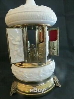 Vintage Reuge Ivory Porcelain Carousel Cigarette Lipstick Dispenser Music Box