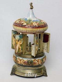 Vintage Reuge Lipstick / Cigarette Holder Music Box Carousel with Cherubs