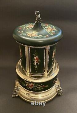 Vintage Reuge Lipstick Cigarette Music Box Carousel Holder Italy