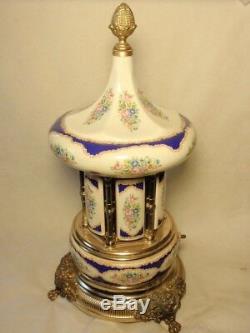 Vintage Reuge Lipstick Cigarette Music Box Carousel Holder Italy Brevettato