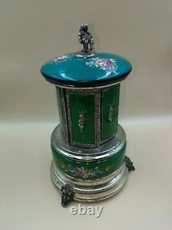 Vintage Reuge Lipstick Cigarette Music Box Carousel Holder Switzerland/Italy