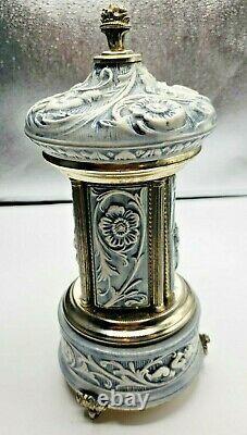 Vintage Reuge Lipstick Cigarette Porcelain Music Box Carousel Holder Made Italy