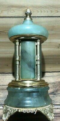 Vintage Reuge Mod Brev Made In Italy Jade Carousel Music Box Lipstick/Cigarette