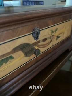 Vintage Reuge Music Box 72 / 3 Mozart Edition Wooden Inlaid Portrait Switzerland