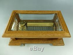 Vintage Reuge Music Box 72 Key Note Nice Crystal Clear Glass Case (watch Video)