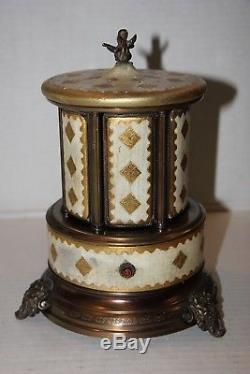 Vintage Reuge Music Box Cigarette Lipstick Holder Made In Italy
