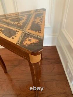 Vintage Reuge Music Triangular Table Plays Auld Lang Syne Made in Italy