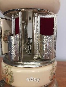 Vintage Reuge Musical Carousel Cigarette Lipstick Holder Dr Zhivago Capodimonte