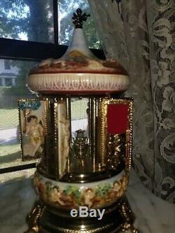 Vintage Reuge Musical Cherubs Harp Lipstick / Cigarette Carousel Angels