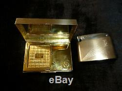 Vintage Reuge Musical Miniature Music Box Powder Compact Case With Lighter