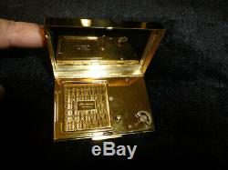 Vintage Reuge Musical Miniature Music Box Powder Compact Gold Plated Brass Case