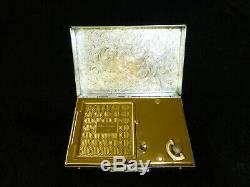 Vintage Reuge Musical Miniature Music Box Powder Compact Sterling Silver Case