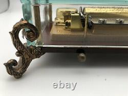 Vintage Reuge Romance 72 Notes Music Box Clear Glass Case Swiss Made 416