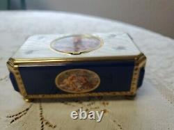 Vintage Reuge Singing Bird Automaton Enamel Music Box Very Nice Condition