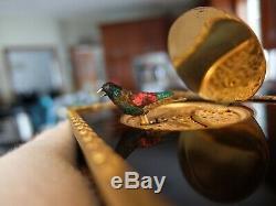 Vintage Reuge Singing Bird Box Automaton Music Box (watch Video)
