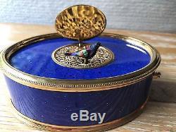 Vintage Reuge Singing Bird Box-blue Oval #t26815