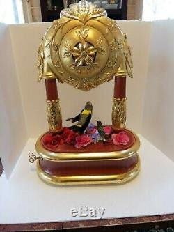 Vintage Reuge Singing Bird Cage Automaton Music Box Chiming Clock (watch Video)