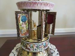 Vintage Reuge Swiss Carousel Music Box Lipstick Holder Edelweiss, Laras Theme