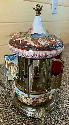 Vintage Reuge Swiss Movement Cherub Capodimonti Lipstick/Cigarette Music Box