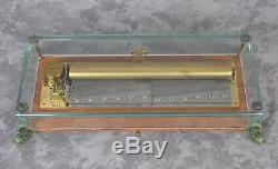 Vintage Reuge Swiss Music Box 144 Note 3 Song Beethoven 5th 6th 9th Fish Feet
