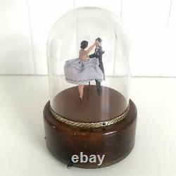 Vintage Reuge Swiss Music Box Ballroom Dancers Domed Automaton