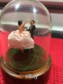 Vintage Reuge Swiss Music Box Dancing Couple -Works Perfectly