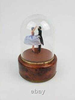 Vintage Reuge Swiss Music Box Dome Dancing Couple Waltz Serviced Working withVideo