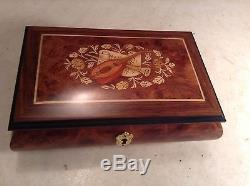 Vintage Reuge Swiss Music Jewelry Box with Beautiful Inlay